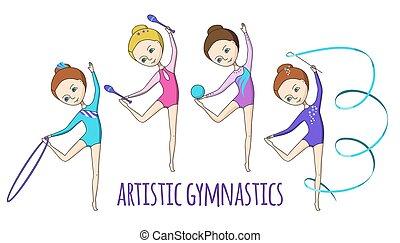 ginnastica, artistico, kids., sport