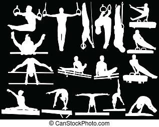 ginnastica, collezione, -, vettore