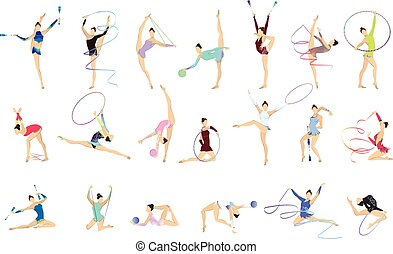 ginnastica, illustrazioni, set.