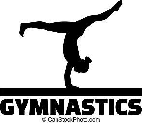 ginnastica, parola, con, ginnasta, a, raggio equilibrio