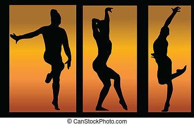 ginnastica, ragazze, fondo