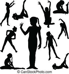 ginnastica, silhouette, vettore