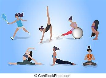 ginnastica, tennis, idoneità, yoga, sport