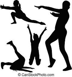 ginnastica, vettore, silhouette