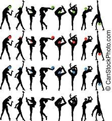 ginnastiche ritmiche, con, palla