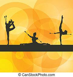 ginnastiche ritmiche, donna, con, club, vettore, fondo