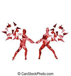 ginnastiche ritmiche, donna, esecuzione, con, club, vettore,...