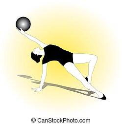 ginnastiche ritmiche, ragazza, palla, attivo