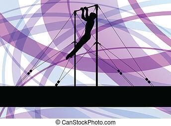 ginnastiche sbarrano, silhouette, atleta, vettore, astratto,...