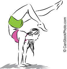 ginnastico, donna, figura, illustrazione