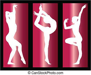 ginnastico, ragazze, su, con, fondo