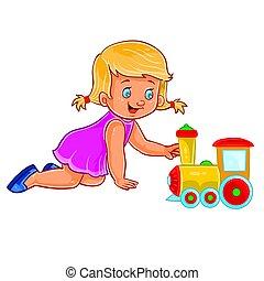 ginocchia, poco, lei, locomotiva, vettore, strisciare, ...