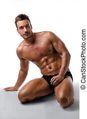 ginocchia, suo, giovane, muscolare, proposta, attraente, uomo
