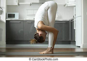 ginocchia, testa, esercizio