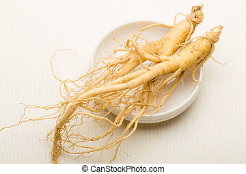 Ginseng on white background