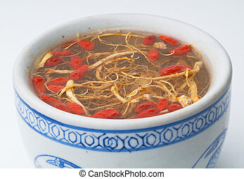 ginseng, suppe, huhn