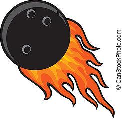 giocare bocce palla, in, fuoco