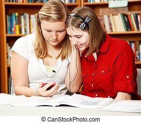 giocatore, adolescenti, mp3, biblioteca
