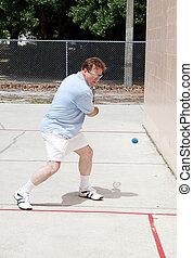 giocatore, aggressivo, racquetball