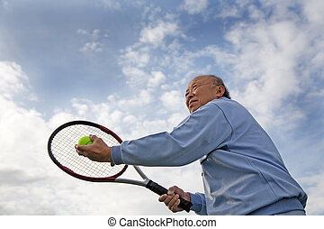 giocatore, anziano, tennis