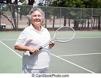 giocatore, anziano, tennis, donna