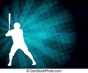 giocatore, astratto, silhouette, fondo, baseball