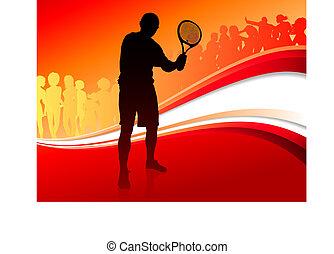 giocatore, astratto, tennis, rosso, folla