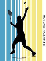 giocatore, badminton, silhouette