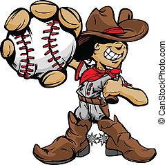 giocatore baseball, cowboy, cartone animato, capretto