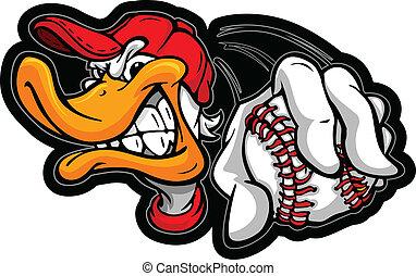 giocatore baseball, presa a terra, anatra