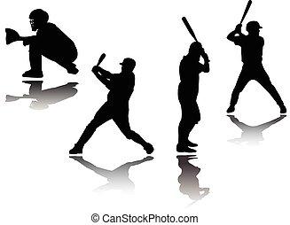 giocatore baseball, silhouette, -, vettore