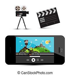 giocatore, battaglio, film, isolato, icons., fondo., macchina fotografica, asse, media, bianco, smartphone