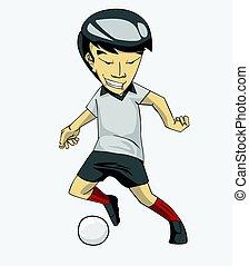 giocatore, calcio, ball., calcio, azione