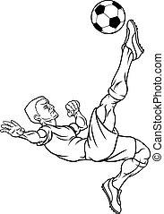 giocatore, calcio, cartone animato, football