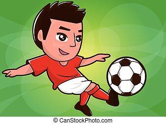 giocatore, calcio, cartone animato, palla, calciare