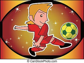giocatore, calcio, cartone animato