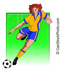 giocatore, calcio, femmina, football, /