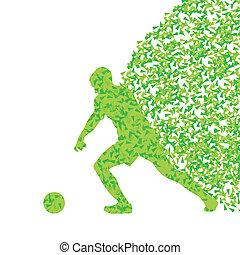 giocatore calcio, palla, calcio, vettore, fondo, concetto