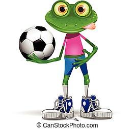giocatore, calcio, rana
