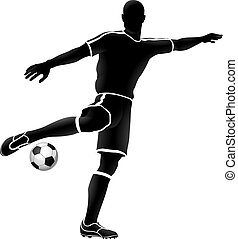 giocatore, calcio, silhouette, football, sport