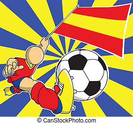 giocatore, calcio, vettore, cartone animato, spagna
