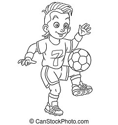 giocatore, coloritura, pagina, football