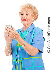 giocatore, donna senior, multi-media