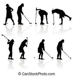 giocatore, donna, silhouette, golf, nero
