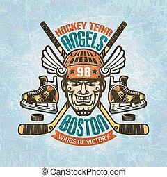 giocatore, emblema, hockey