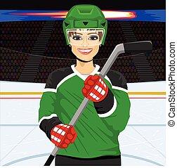 giocatore, femmina, hockey, ghiaccio, bastone