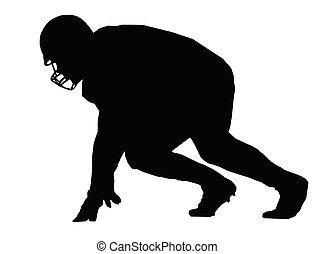 giocatore, football americano, silhouette, scrimmage