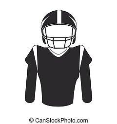 giocatore, football americano, silhouette, uniforme