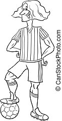 giocatore, football, coloritura, pagina