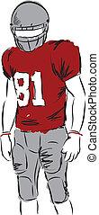 giocatore, football, illustrazione